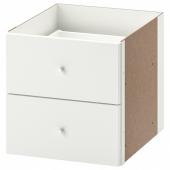 КАЛЛАКС Вставка с 2 ящиками, глянцевый белый, 33x33 см