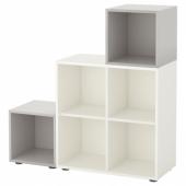 ЭКЕТ Комбинация шкафов с ножками, белый, светло-серый, 105x35x107 см